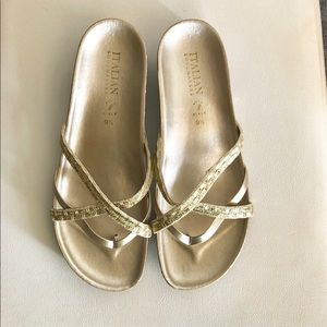 Italian shoe makers gold sandals. Brand new 9.5